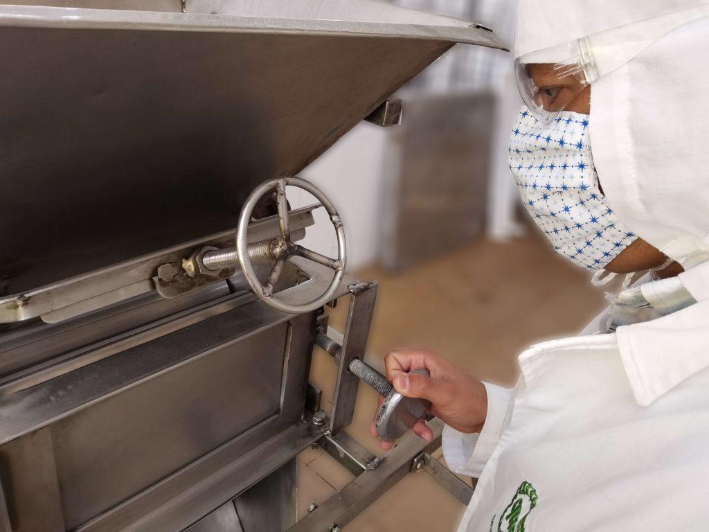 oda la maquinaria especializada que se utiliza para la cosecha del amaranto, para limpiar los granos, procesarlos y tostarlos, y para elaborar los alimentos, se fabrica en el Centro de Tecnología de la misma cooperativa. Sofía Llanos en esta foto de León Hernández